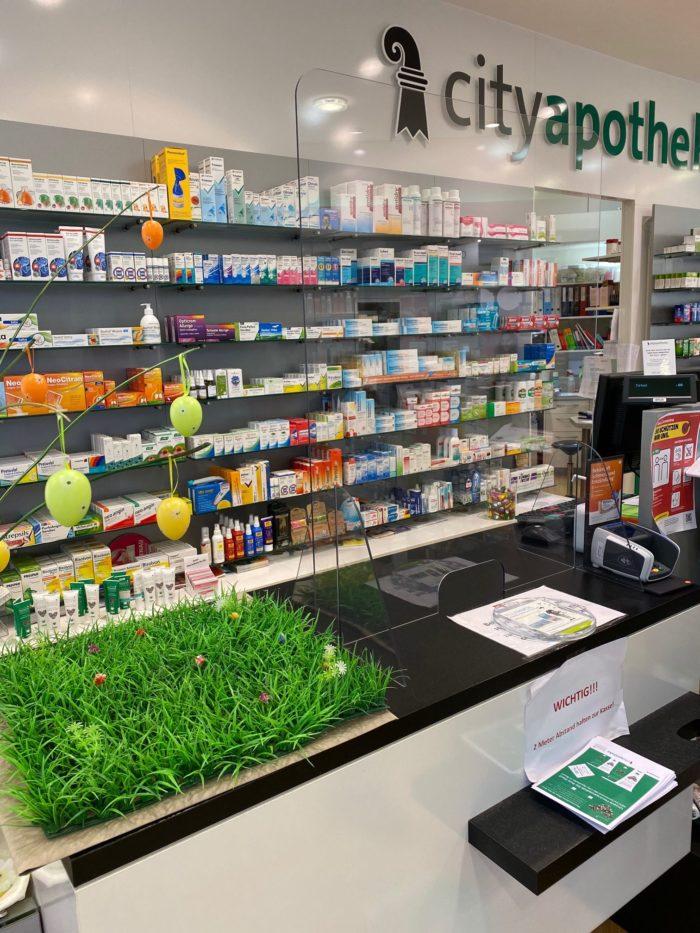 Schutzscheibe für Praxis, Apotheken und Kasse in Basel